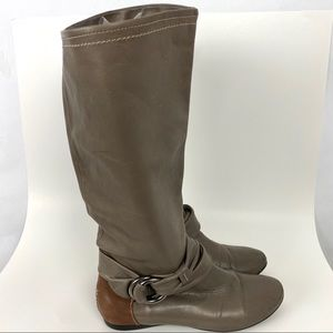 B Makowsky Taupe Leather Boots Knee High size 8M